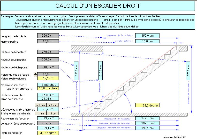 calcul d 39 un escalier droit. Black Bedroom Furniture Sets. Home Design Ideas