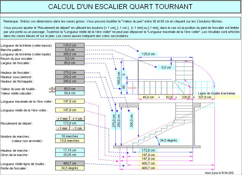 Calcul d 39 un escalier quart tournant for Calcul tremie escalier quart tournant